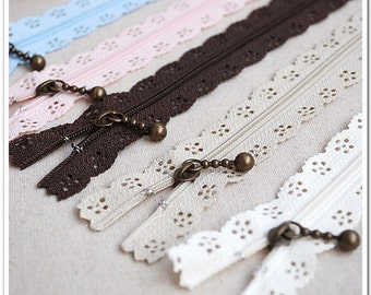 Lace Short Zippers - Scallop Lace Clothes Purse Bags Metal Zipper Trim DIY Fabric Crafts 5Pcs - 9 Inches
