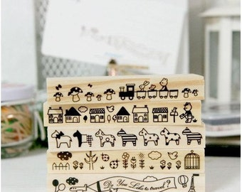 Wooden Rubber Stamp Sets -Lace Bar Stamp - 5 Pcs