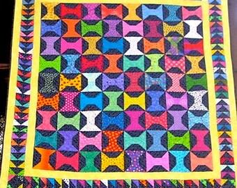 66 x 71 Inch Bright Fabric Spools Handmade Quilt