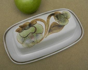 Vintage Denby Covered Quarter Pound Butter Dish Troubadour Pattern Dinnerware