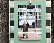 Distressed Picture Frame, 4x6 Picture Frame, clip frame, recipe holder, office organizer, Team Colors, Polka Dot Frame