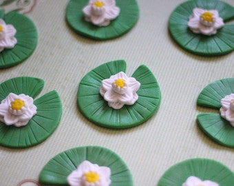 Whimsical Lily Pads Fondant Toppers - Perfect for Cookies, Cupcakes and Other Edible Treats