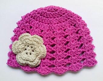 Crochet Baby Hat, Summer, 100% Cotton, Beanie, pink girls hat, ivory crochet flower