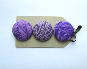 OOAK big buttons.  3 1 1/2 in fabric covered buttons in quilting cotton, purple, lavender print