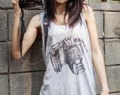 Black Nikon Camera Gray Tank Top - Women T-shirt Tank top Tunic Unisex Shirt Vest Women Sleeveless Singlet T-Shirt Size M L.
