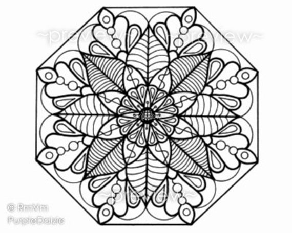 items similar to mandala flower 5 printable color page large jpeg file art drawn by me rena. Black Bedroom Furniture Sets. Home Design Ideas