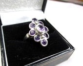 Sterling Silver Amethyst Art Deco Retro Ring 1960s Vintage Jewelry