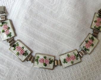 Guilloche Enamel Bracelet with Earrings, Sterling Silver, 1930s  Art Deco Vintage Jewelry, SUMMER SALE