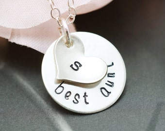Best Aunt necklace, Aunt gift, Custom initial, Hand stamped, Aunt jewelry gift, Personalized, Sterling silver