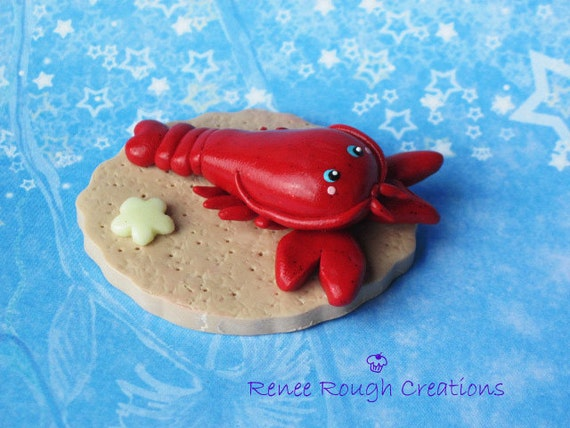Lobster Kawaii Polymer Clay Glow In Dark Star Miniature