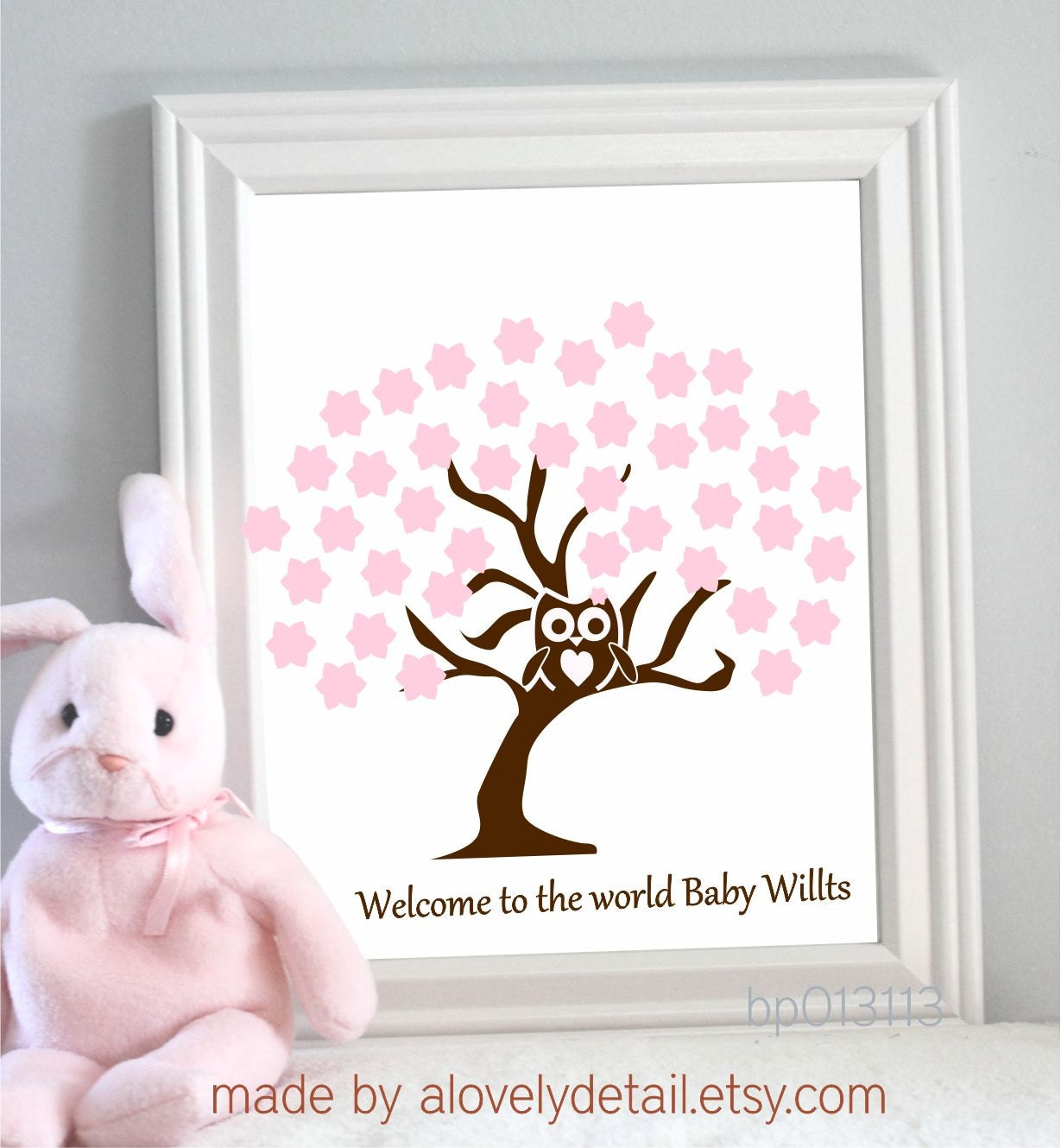 Guestbook Baby Shower New Baby OWL Girl Tree Print