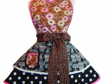 """Coffee and Donuts Retro Diner Pinup Apron-A """"Tie Me Up Aprons"""" Exclusive"""