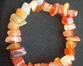 Agate Bracelet Natural Stone Chips Anklet Fall Orange Red White Cream Stretchy Ready to Ship