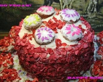 Vegan Gluten free Strawberry Vanilla Cake, love, animal free cruelty,no eggs,no dairy.