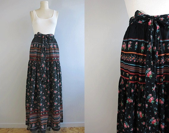 Vintage 70s Maxi Skirt / 1970s Black Floral Border Folkwear Tiered Skirt Rose Stripe Pink Turquoise