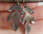 Oak leaf earrings -WINTER LEAVES- rustic patina aged tiny oak leaf earrings with free gift boxing