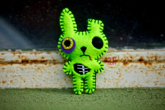 Felt Zombie Bunny - Pocket Plush Toy