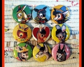 Set of 9 Retro Donkey 1 Inch Buttons (OR MAGNETS)