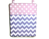 12x15 Wet bag lavender chevron pink polka dots waterproof cloth diaper zipper large hanging swim bathing suit pool beach boy girl wetbag