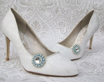 Shoe Clips, Swarovski Crystal & Blue Pearl, Wedding Accessory, Something Blue, Beaded Shoeclips