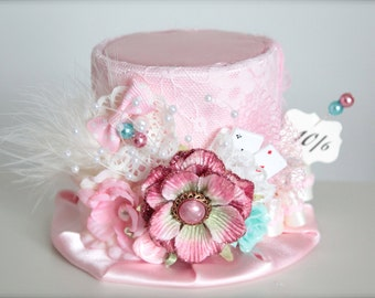 Vintage Inspired Alice in Wonderland Inspired Mad Hatter 10/6 - Mini Top Hat Headband (or fascinator) - Perfect Birthday Photo Prop