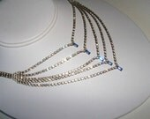 Vintage Clear Rhinestone and Cobalt Blue Necklace