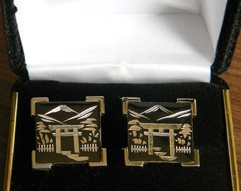 Vintage SWANK Asian Themed Sterling Silver-Etched Cufflinks