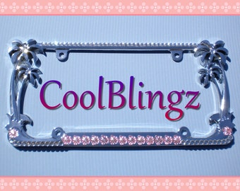 Baby Pink Flowers and CRYSTAL Rhinestone PALM TREE License Plate Frame Diamond Bling