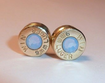 Bullet Earrings. Air Blue Opal  .9mm Luger