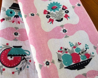 Vintage Linen Dish Towel Pink Aqua Red Black Kitchen Mid Century Printed