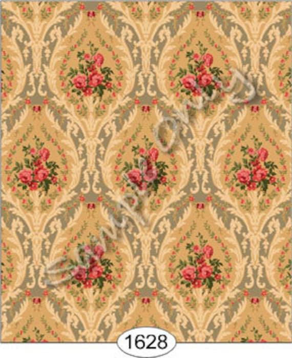 Dollhouse miniature historic victorian wallpaper - Late victorian wallpaper ...
