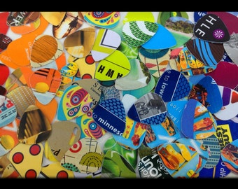 Crazy, Cool, Funky, Upcycled Guitar Picks- set of 10 - Recycled pic for your guitar -