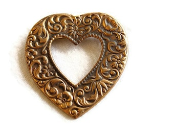 1980's Rustic Bronze Heart Brooch