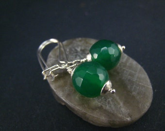 green agate earrings,sterling silver