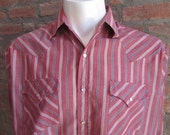 Mens LARGE cowboy shirt, Plains Western Wear, vintage, red white and blue striped, pearl snaps (363)