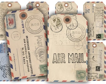 Digital Images - Digital Collage Sheet Download - Air Mail Postcard Gift Tags -  205  - Digital Paper - Instant Download Printables