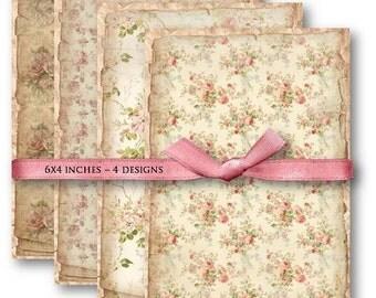 Digital Images - Digital Collage Sheet Download - Floral Shabby Background -  595  - Digital Paper - Instant Download Printables