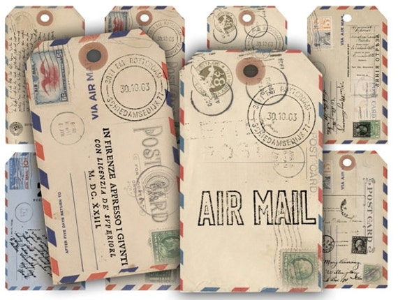 Digital Collage Sheet Download - Air Mail Postcard Gift Tags -  205  - Digital Paper - Instant Download Printables