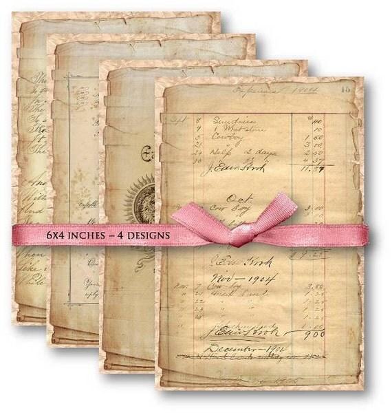 Digital Collage Sheet Download - Vintage Ephemera Papers -  495  - Digital Paper - Instant Download Printables