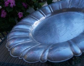 Vintage Platter Floral Aluminium Forman Family Inc Tray