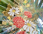 Hand-Painted Glass Dish, Floral Fluted Iridescent with Gold accents