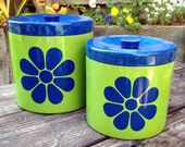 Canisters Lacquerware Japan 1960s Green and Blue Daisy Set of Two