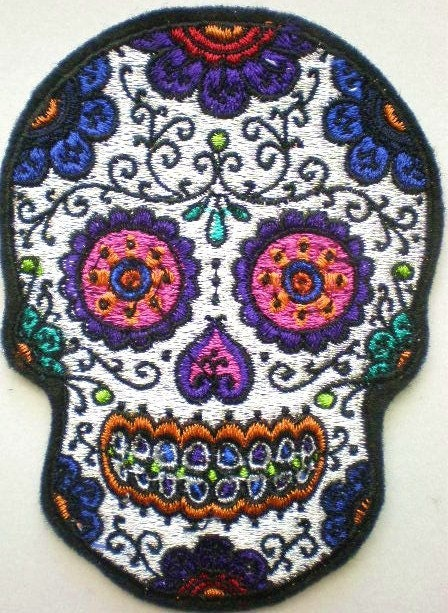 Embroidered Sugar Skull Applique Patch Day of the Dead