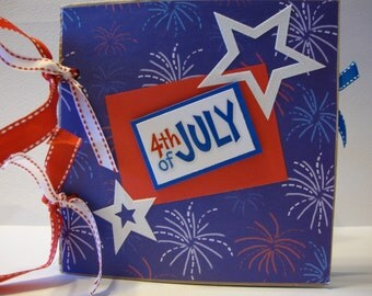 4th of July paper bag scrapbook album-- Decorated for a boy