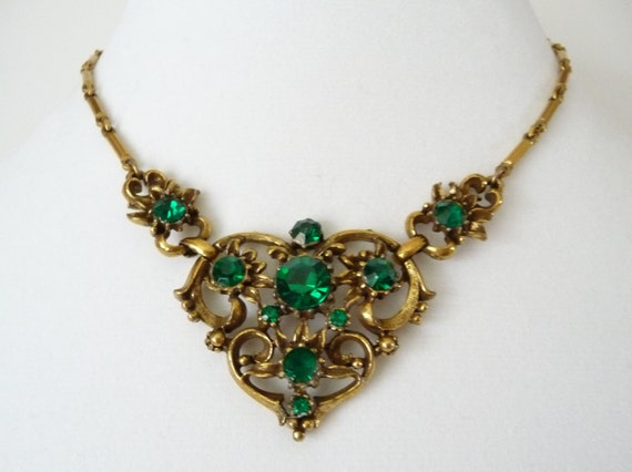 vintage coro rhinestone choker necklace emerald green