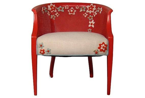 Bright Colorful Modern Chic Orange Aqua Flower French Cane Barrel Bucket Chair