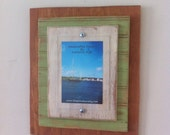 5 x 7 Distressed Handmade Picture Frame - Natural Wood, Spring Green & White