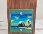 3 x 4 Rustic Distressed Picture Frame made from reclaimed wood - Natural Wood & Emerald Green
