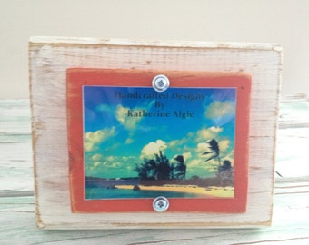 3 x 4 Rustic Distressed Picture Frame made from reclaimed wood - Cream & Terra Cotta