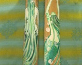 Original Mermaid Art-Two Hand Painted Mermaids on Drift Wood Bamboo- Beach House HolidaY Decor-